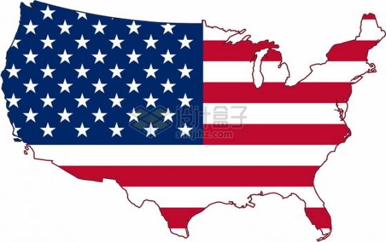 印有国旗图案的美国地图png图片素材