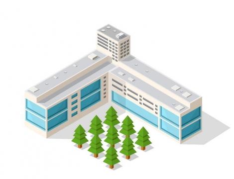 3D风格的蓝色大楼和树木png图片免抠素材