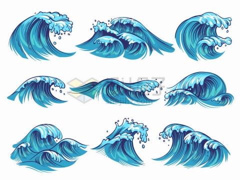 9款手绘蓝色海浪巨浪浪花png图片免抠矢量素材