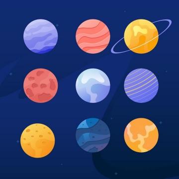 扁平插画风格的地球月球木星等太阳系八大行星图片免抠矢量素材