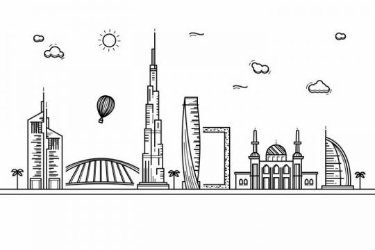 黑色线条手绘风格迪拜城市建筑知名旅游城市天际线png图片免抠素材
