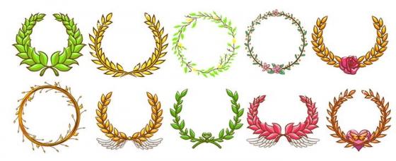 10款树叶组成的徽章装饰图片免抠矢量图素材