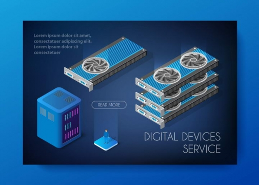 GPU比特币采矿设备服务器图片免抠素材