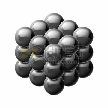 27个黑色巴克球磁力球磁铁球3D立方体png图片素材