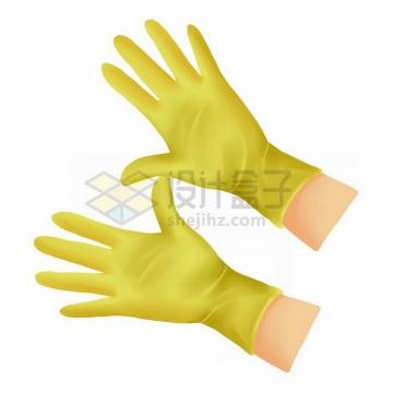 戴着黄色橡胶手套的双手png免抠图片素材