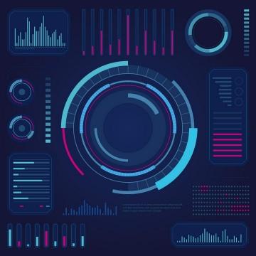 酷炫的蓝色粉色科技风格条形图圆环图数据图表图片免抠素材