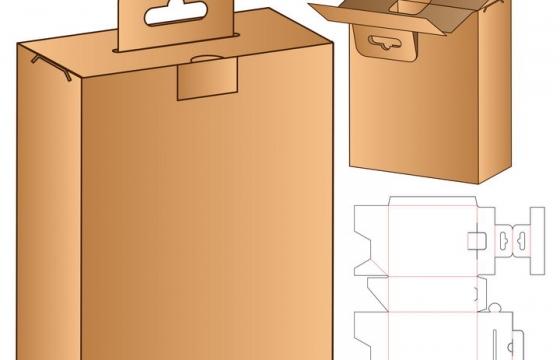 一款棕色手提包装箱盒子分解图图片免抠矢量素材