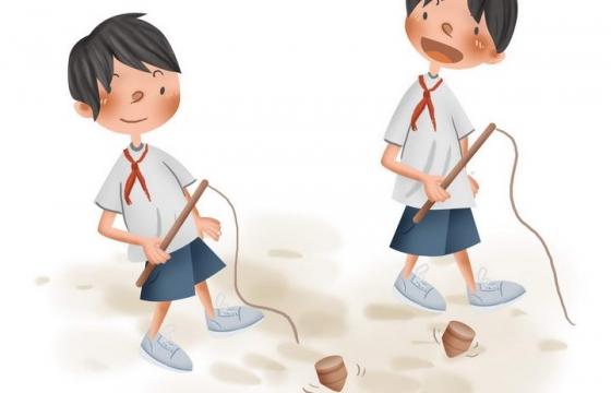 手绘卡通正在玩打陀螺的小孩童年回忆儿童游戏图片免抠素材