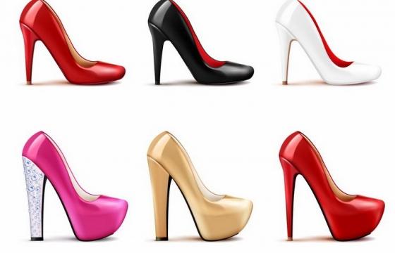 6款各种颜色的红色黑色白色粉色高跟鞋png图片免抠矢量素材