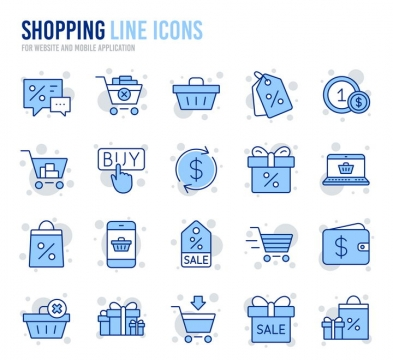 蓝色线面结合风格购物icon图标图片免抠矢量图素材