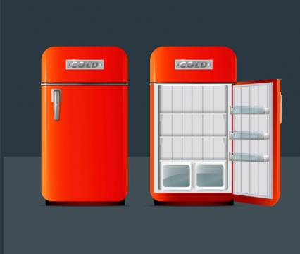 红色的电冰箱打开门的冰箱家用电器图片免抠矢量图