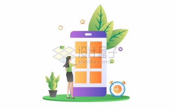 扁平插画风格正在手机上使用日程安排APP的商务女士png图片免抠矢量素材