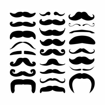 24款各种形状的小胡子山羊胡须形状png图片免抠矢量素材