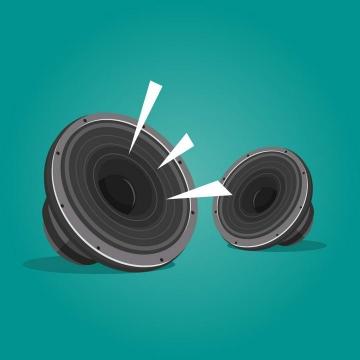 两个正在发出声音的音箱喇叭图片免抠素材