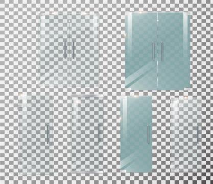 两款玻璃门毛玻璃浴室门家具图片免抠矢量图