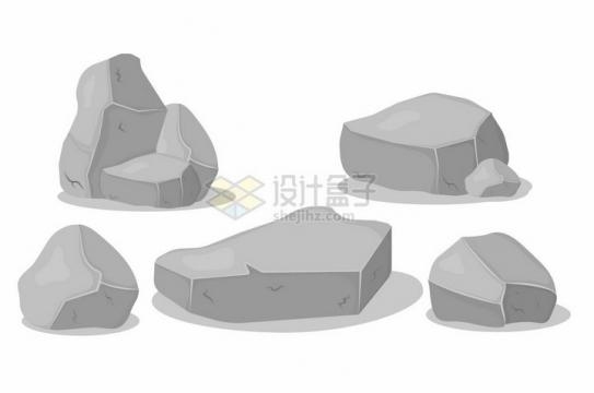 5种灰白色的岩石卡通花岗岩石头png图片免抠矢量素材