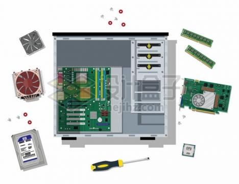 拆开的电脑主机中的主板内存条硬盘CPU电源等电脑配件png图片免抠矢量素材