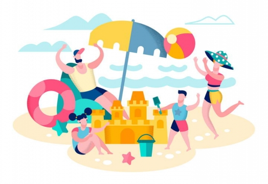 扁平插画风格在沙滩上玩耍的一家四口夏日旅游配图图片免抠素材