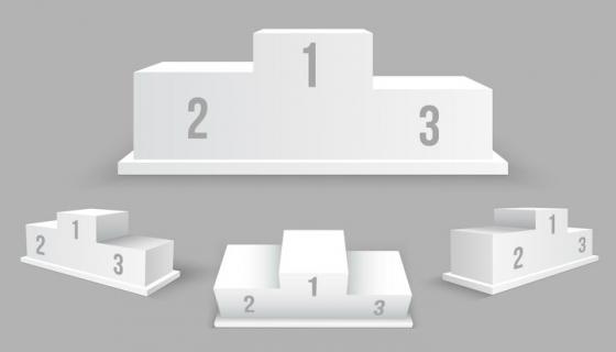 4个不同角度的空白领奖颁奖台阶排名图片免抠矢量素材