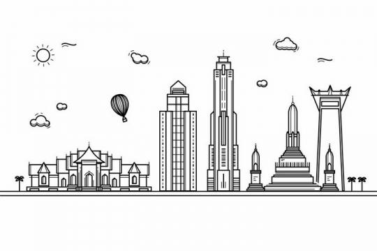 黑色线条手绘风格泰国曼谷城市建筑知名旅游城市天际线png图片免抠素材