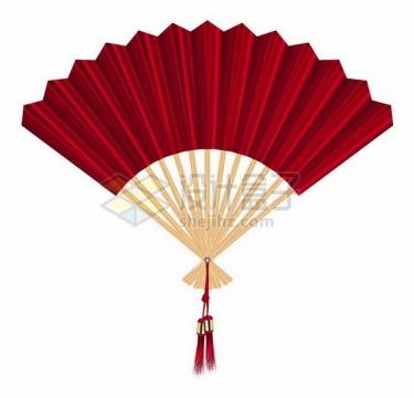 中国风扇子红色折扇png图片免抠矢量素材