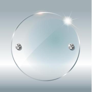 透明玻璃圆盘图片免抠矢量图