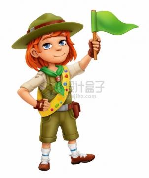 卡通男孩穿着探险服装冒险梦想png图片素材
