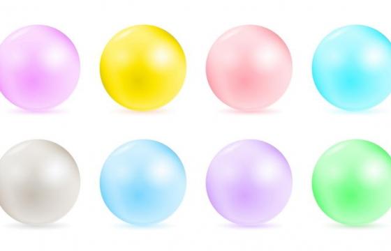 8款各种不同颜色的圆球图片免抠矢量素材