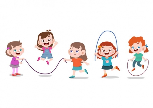 一群正在跳绳的卡通小朋友图片免抠矢量素材