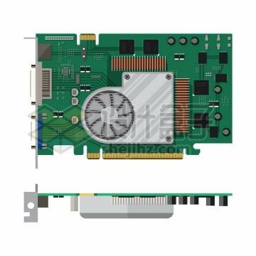 电脑主板的正面和侧面电脑配件png图片免抠矢量素材