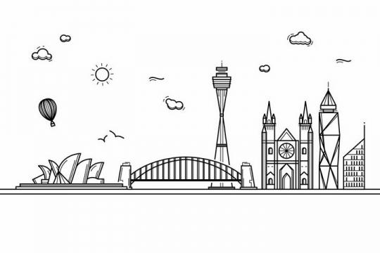 黑色线条手绘风格悉尼城市建筑知名旅游城市天际线png图片免抠素材