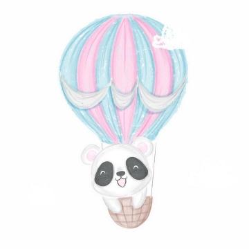 彩绘涂鸦风格可爱的乘坐热气球的卡通熊猫png图片免抠矢量素材