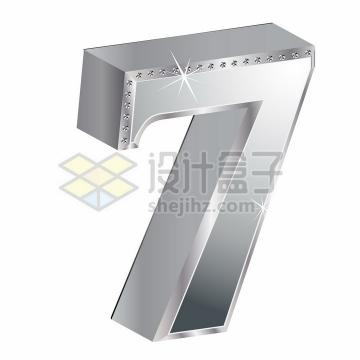 3D金属银色镶钻立体数字7png图片素材