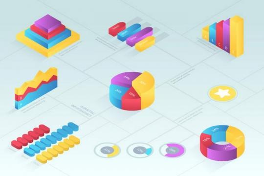 糖果色立体风格数据饼形图柱形图图片免抠素材