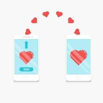 两个手机之间正在发送爱心红心象征了网络交友和爱情图片免抠矢量素材