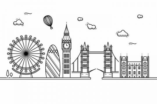 黑色线条手绘风格伦敦城市建筑知名旅游城市天际线png图片免抠素材