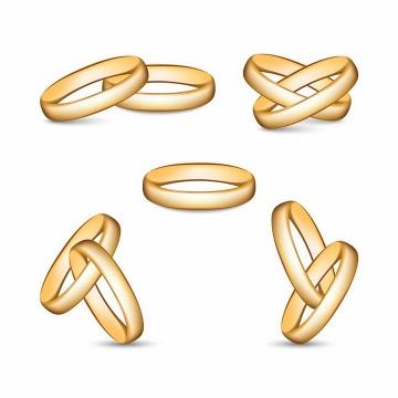 5款交叉在一起的结婚金戒指png图片免抠矢量素材