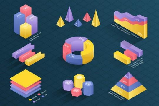 糖果色立体风格数据饼形图柱形图金字塔图图片免抠素材