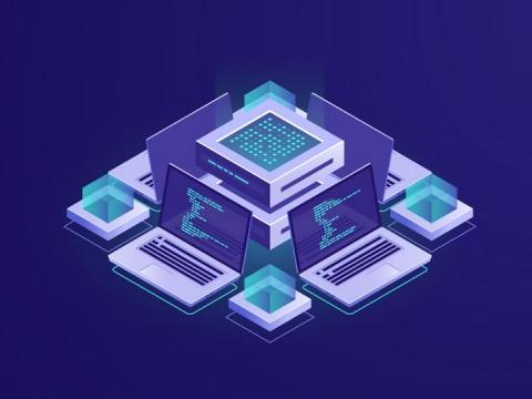 2.5D风格紫色服务器笔记本电脑IT行业免抠矢量图片素材