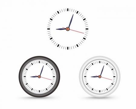 透明时钟表盘和黑白色边框的钟表png图片免抠矢量素材