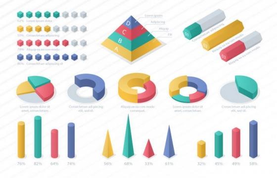 糖果色立体风格数据饼形图柱形图比例图图片免抠素材