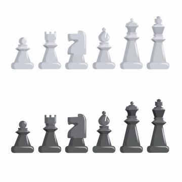 两种灰色的国际象棋棋子png图片免抠矢量素材