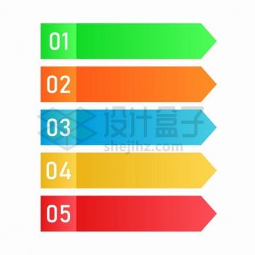 彩色三角序列号PPT信息标签png图片素材