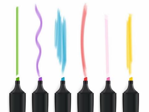画出彩色线条的水彩笔画笔png图片免抠矢量素材