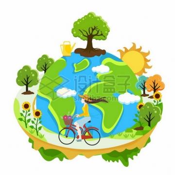 女孩骑自行车围绕卡通绿色地球环保主题插画972905png图片素材