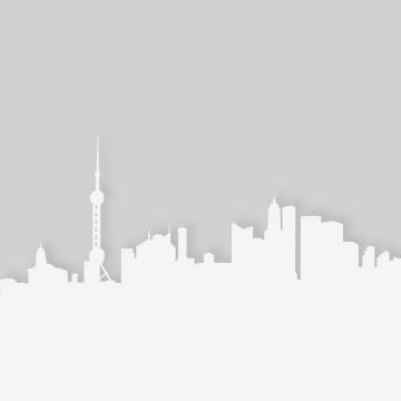 白色东方明珠塔等上海知名建筑城市天际线剪影png图片免抠矢量素材