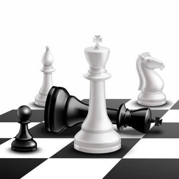 黑白棋盘上的逼真国际象棋棋子png图片免抠矢量素材