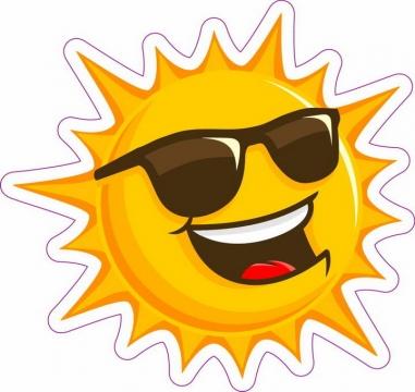 戴着墨镜的微笑太阳表情图片免抠素材