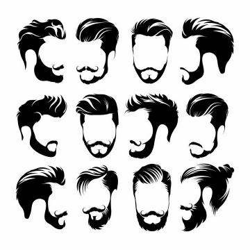 12款男人络腮胡须黑胡子新潮男士发型png图片免抠矢量素材