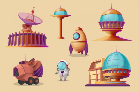 卡通插画风格火星探索飞船宇航员火星车等天文科普图片免抠素材